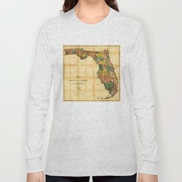 Map of the State of Florida (1856) Long Sleeve T-shirt