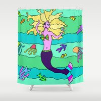 mermaid Shower Curtains featuring Mermaid by Linda Tomei