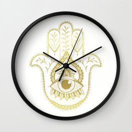 Hamsa Hand - Gold Wall Clock