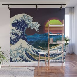 Synthwave Space #9: The Great Wave off Kanagawa Wall Mural