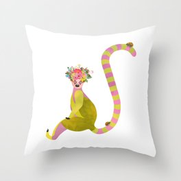 Lemurs with a crown of flowers and ladybugs Throw Pillow