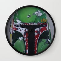 boba Wall Clocks featuring Boba by Mowgli Tattoo