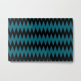 Jet Black and Tropical Dark Teal Inspired by Sherwin Williams 2020 Trending Color Oceanside SW6496 Zigzag Pointed Rippled Horizontal Line Pattern Metal Print