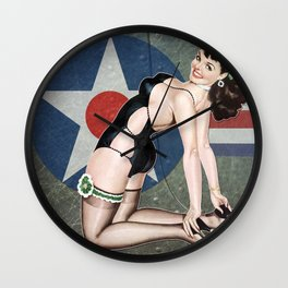 WWII Nose Art Aviation Vintage Pinup Girl Wall Clock