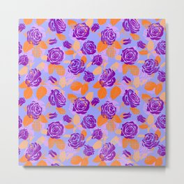 Roses and dots pattern (violet) Metal Print