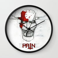 """pain Wall Clocks featuring """"Pain"""" by Pastuv"""