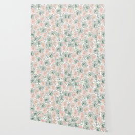 Flowers And Succulents White  #buyart #decor #society6 Wallpaper