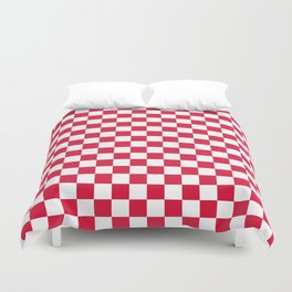White and Crimson Red Checkerboard Duvet Cover