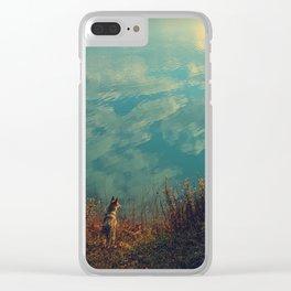 Wolfdog blue landscape Clear iPhone Case