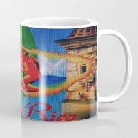 puerto rico Mugs featuring Puerto Rico Oil painting Prints  by Huesca Arts by Yolanda Huesca