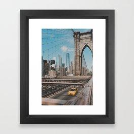 New York City Skyline and Brooklyn Bridge Framed Art Print