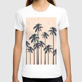 Neon Lined Black Palm Trees on Peach Horizon T-shirt