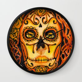 Autumnal Dia de los Muertos Wall Clock