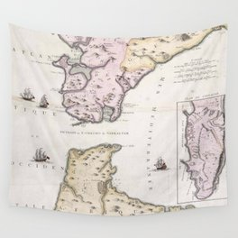 Vintage Map of The Strait of Gibraltar (1780) Wall Tapestry