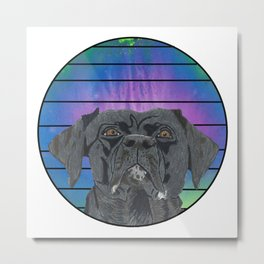 Black Lab in Abstract Colored Circle with Lines Metal Print