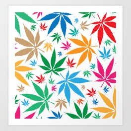 marijuana leaf color pattern Art Print