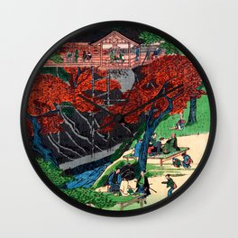 Tsutenkyo Bridge at Tofukuji Temple by Hasegawa Sadanobu - Japanese Vintage Ukiyo-e Woodblock Painti Wall Clock