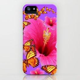 DECORATIVE MONARCH BUTTERFLIES  PINK HIBISCUS   PURPLE ART iPhone Case