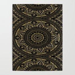 Traditional mandala in gold//vintage flourish-botanical elements Poster