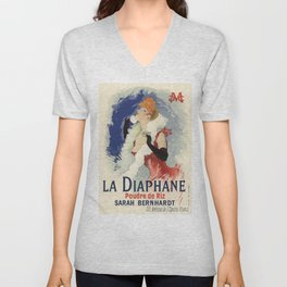 Belle Epoque vintage poster, Sarah Bernhardt, La Diaphane Unisex V-Neck