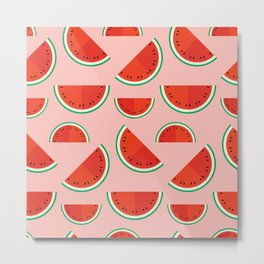 Watermelons on pink Metal Print