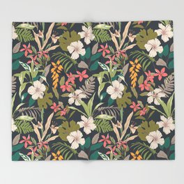 tropical flower Throw Blanket
