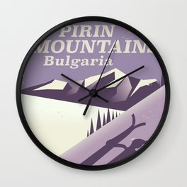 Pirin Mountains Bulgaria Ski Wall Clock