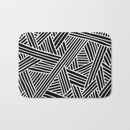Abstract black & white Lines and Triangles Pattern-Mix and Match with Simplicity of Life Bath Mat