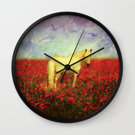 Horse in Flowers Wall Clock