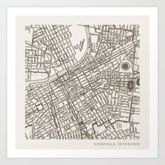 Nashville Map Art Print