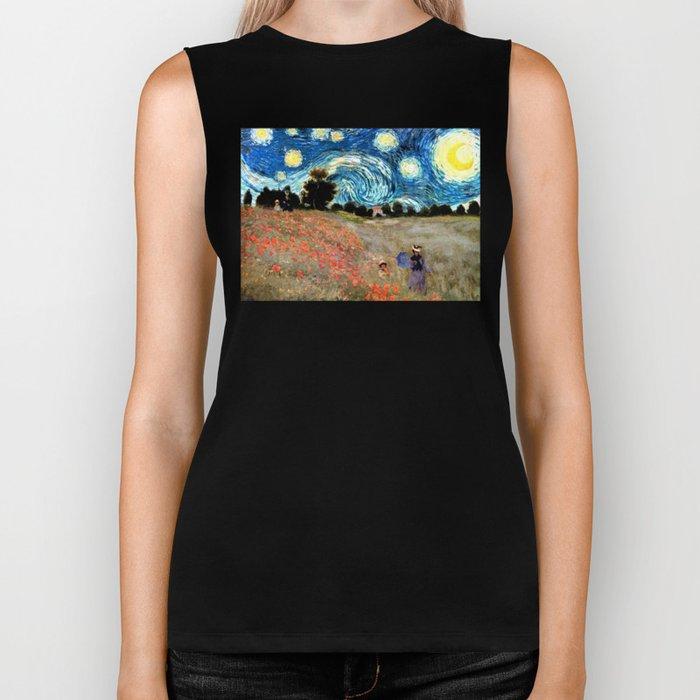 Monet's Poppies with Van Gogh's Starry Night Sky Biker Tank