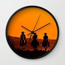 Wild West sunset - Cowboy Men horse riding at sunset Vintage west vintage illustration Wall Clock