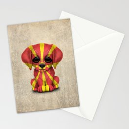 Cute Puppy Dog with flag of Macedonia Stationery Cards