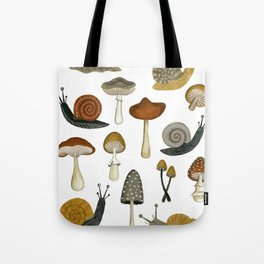 mushrooms and snails Tote Bag