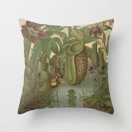 Antique Carnivorous Plants Lithograph Throw Pillow