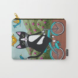 Tuxedo Cat Spring Bicycle Ride Carry-All Pouch