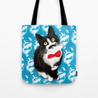 muppet Tote Bags featuring Muppet the Moustached Cat by EggsBFF
