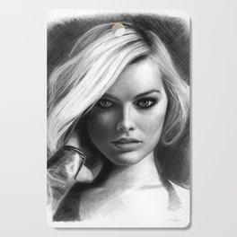 Margot Robbie Pencil Sketch Cutting Board