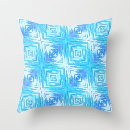 Solar Rays Squared - Blu Throw Pillow
