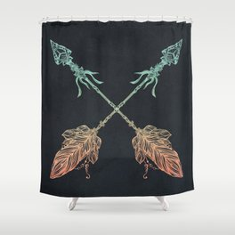 Arrows Turquoise Coral on Navy Shower Curtain
