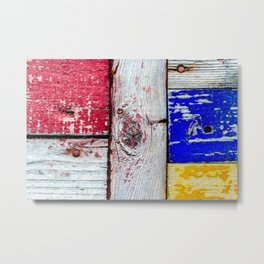 Funny Neoplasticism Style Art Of Grunge Wooden Planks Metal Print