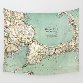 Cap Cod and Vicinity Map Wall Tapestry