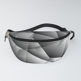 Glowing monochrome pattern of chaotic black and white fragments of glass, metal and ice floes. Fanny Pack