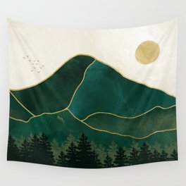 Mount Hood // Emerald Abstract Dream Oregon Green Gold Yellow Mountain Forest Wilderness Landscape Wall Tapestry