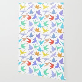Japanese Origami paper cranes symbol of happiness, luck and longevity Wallpaper