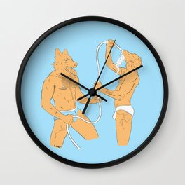 Dogmen fight with water in underwear Wall Clock