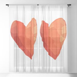 A Single Red Heart Sheer Curtain