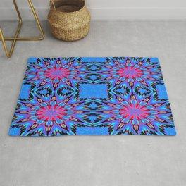 Colorful Blue Color Burst Rug