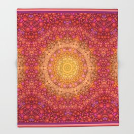 Love Will Find A Way -- Kaleidescope Mandala in the colors of Love Throw Blanket