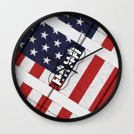4th of July American Football Fanatic Wall Clock